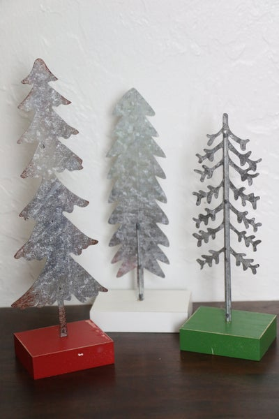 In The Forest  Set of 3 Galvanized Tin Trees On Painted Wooden Blocks