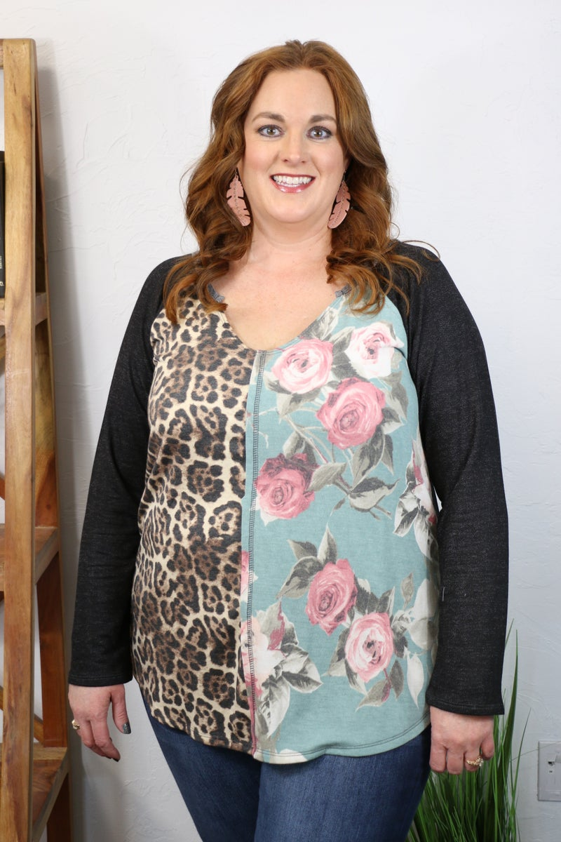 Just Imagine Floral and Animal Print V-Neck Top with Black Accent Sleeve - Sizes 4-20