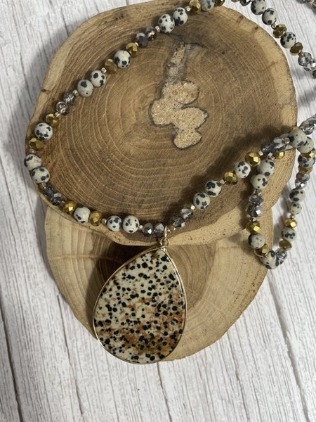 Teardrop Natural Stone Speckled Necklace with Beaded Chain