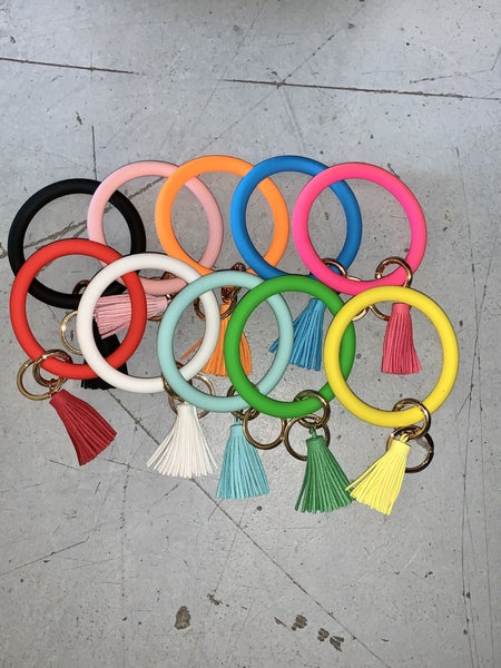Silicone Bangle Keyring with Tassel in Multiple Colors