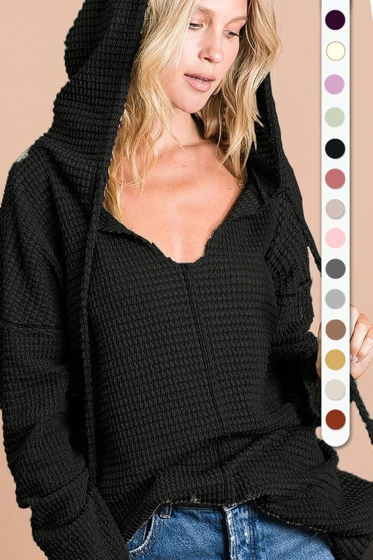 It's My Favorite Hooded Waffle Knit Long Sleeve Top in Multiple Colors - Sizes 4-12