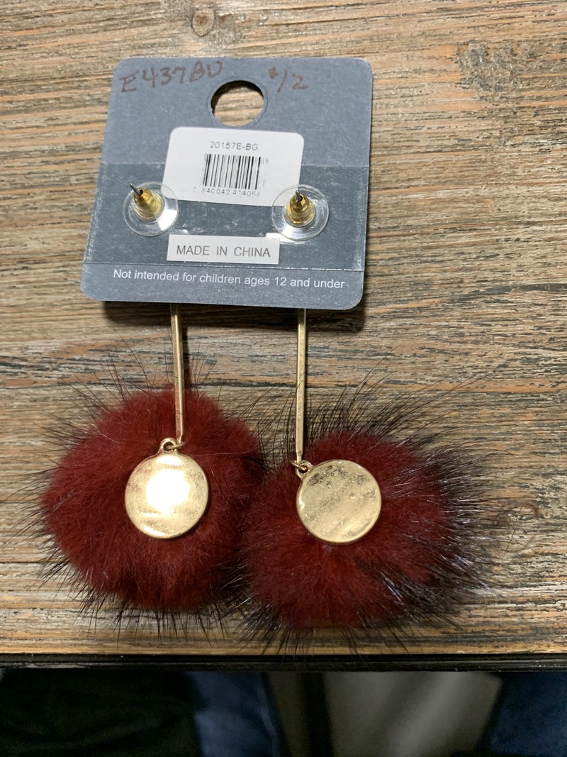 Tribbles Gold Drop Earring With Half Pom Pom In Multiple Colors