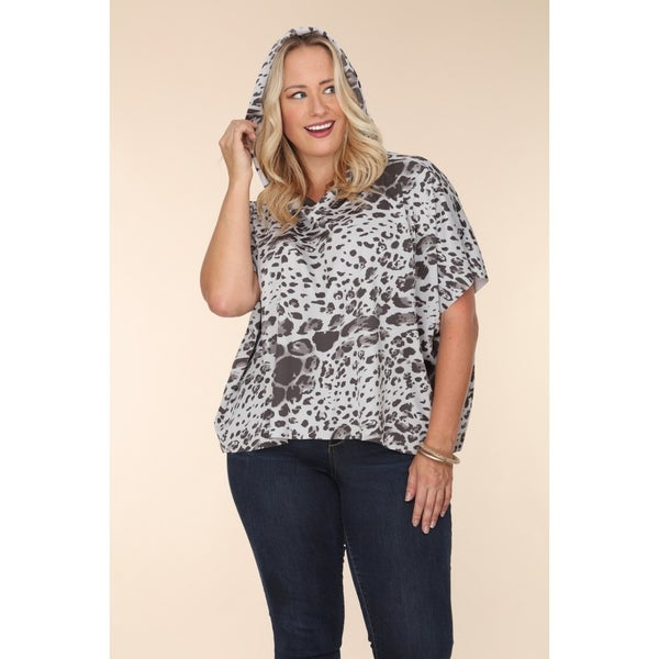 Save the Best Grey Leopard Short Sleeved Hooded Top with Raw Hems - Sizes 12-20