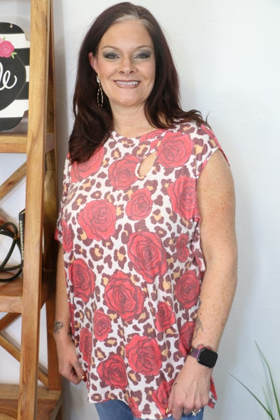 Grateful Love Leopard and Rose Short Sleeve Top with Key Hole and Cold ShoulderDetail - Sizes 4-20
