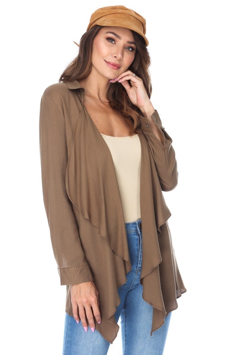 Never Coming Back Down Olive Collard Draping Jacket - Sizes 4-10