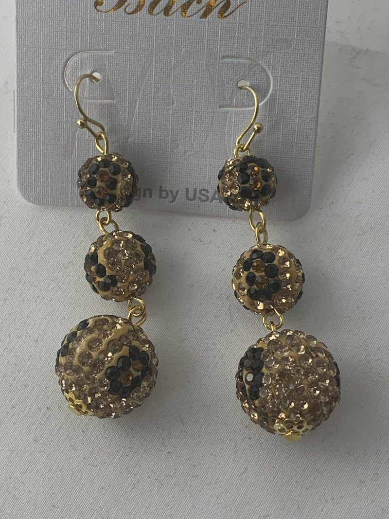 Triple Threat 3 Size Leopard Shimmer And Shine Beaded Earring