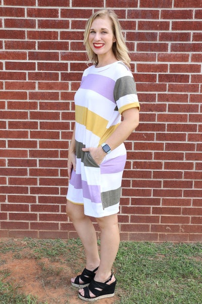 Life's A Dance Colorful Striped Dress - Sizes 4-10
