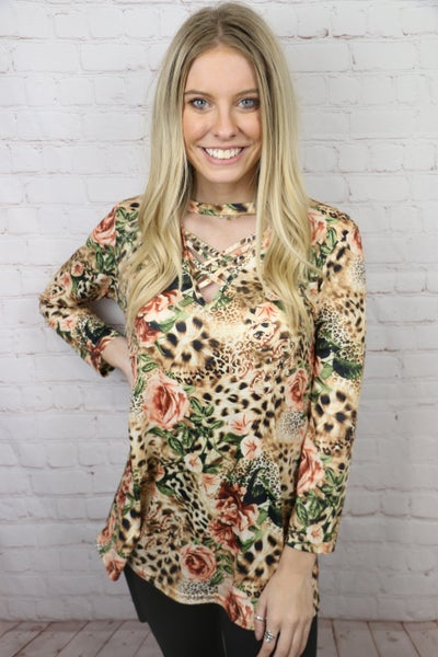 Stay Young Roses & Leopard Top with Criss-Cross Neck - Sizes 4-20