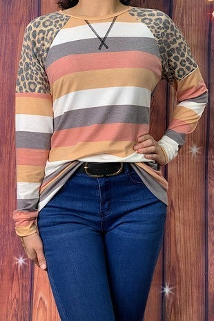 Full of Hope Leopard and Autumn Hues Striped Top - Sizes 4-20