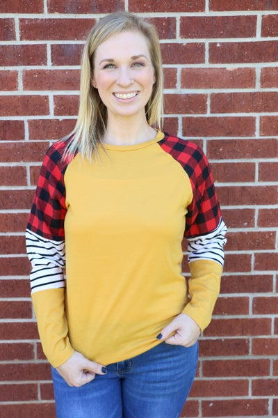 Just Getting Started Buffalo Plaid and Stripes Long Sleeve Top in Multiple Colors - Sizes 4-20