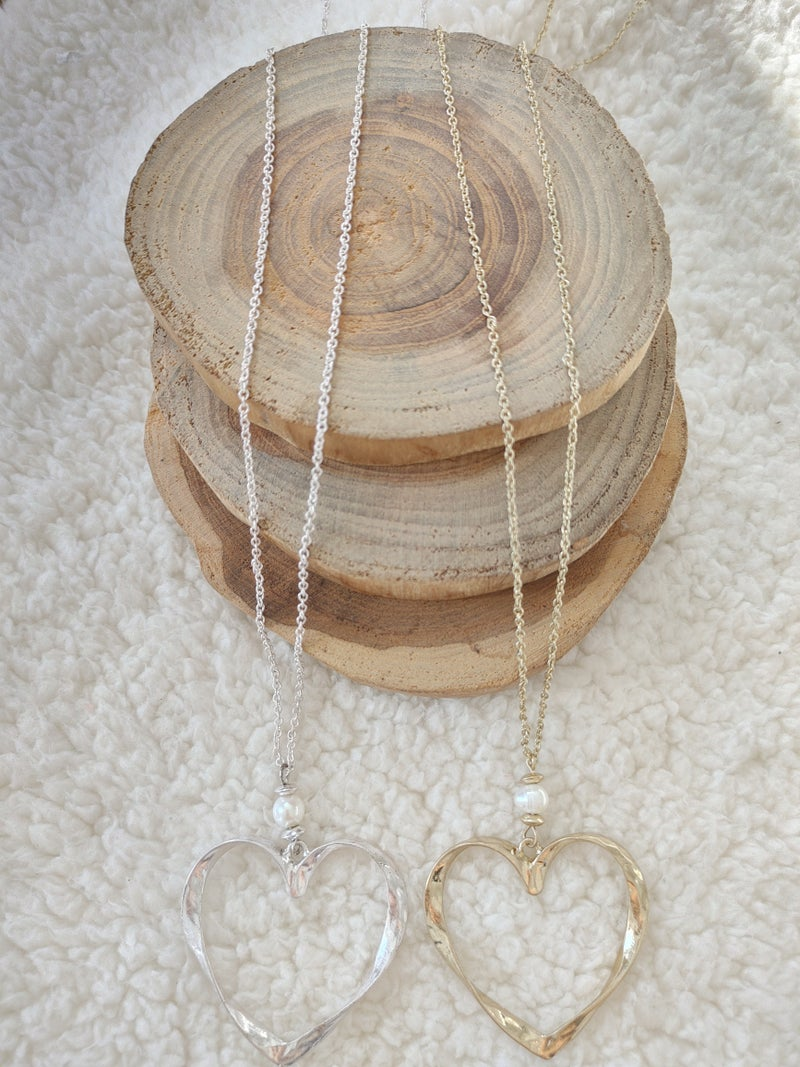 Beloved Long Necklace With Hammered Metal Heart With Pearl Detail In Multiple Colors