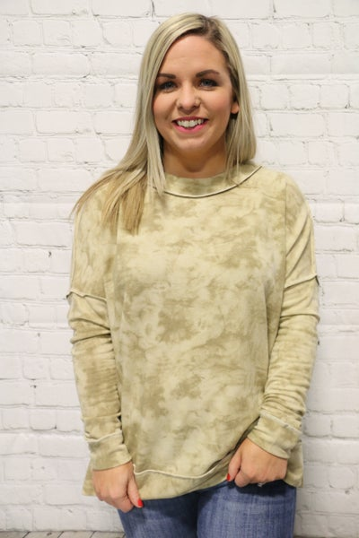 So Hannah Tie-Dye Long Sleeve Top In Taupe - Sizes 4-10