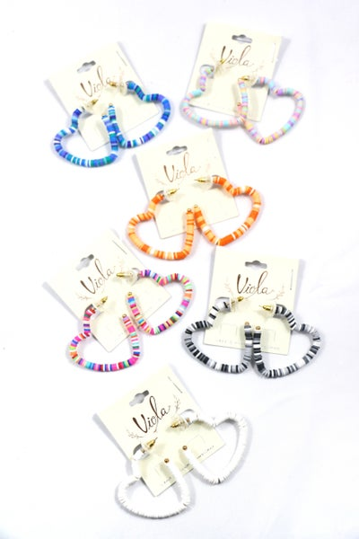 Into Your Heart Multicolor Rubber Disc Heart Hoop Earring In Multiple Colors