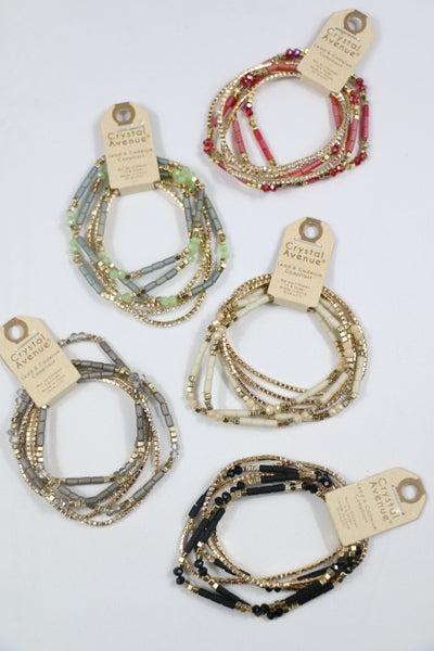 Elation 6 Strand Bead And Crystal Stretch Bracelet In Multiple Colors