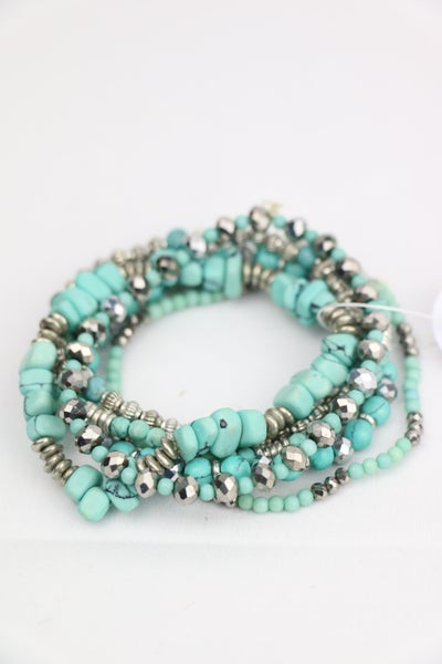 Turquoise Dreams 6 Strand Turquoise And Silver Stretch Bracelet