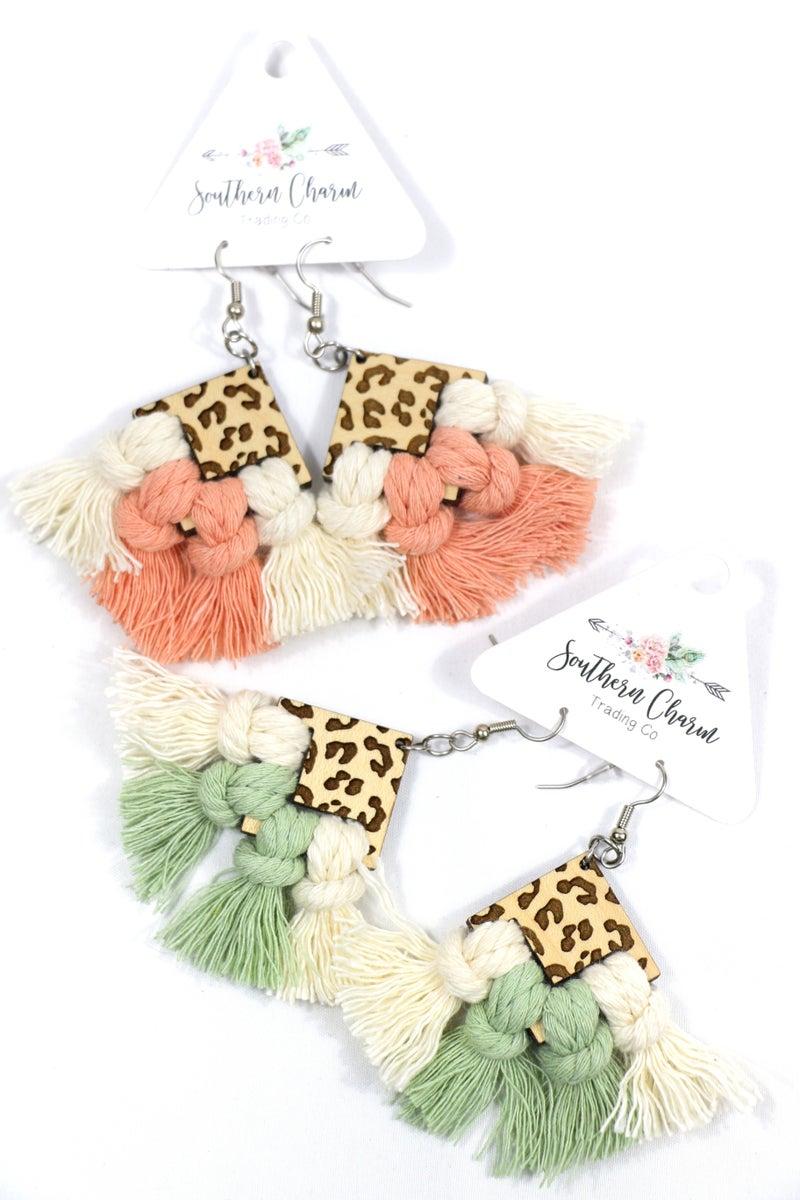 Make Way for Me Wooden Leopard Triangle Macrame Fishhook Back Earring in Multiple Colors