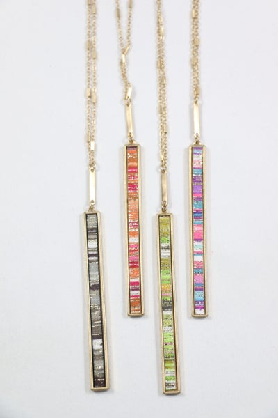 Fresh Start Long Rectangle Metallic Stripe Leather Necklace In Multiple Colors