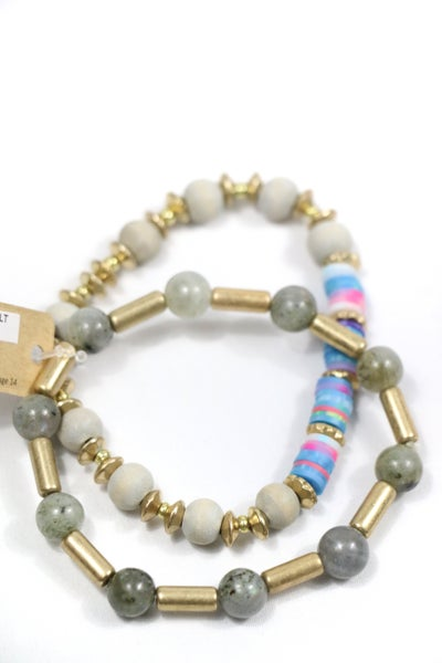 She's The One Multicolor Rubber Disc And Bead 2 Strand Stretch Bracelet