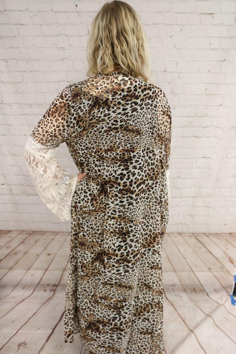 Leopard & Lace Duster Kimono - Sizes 4-20