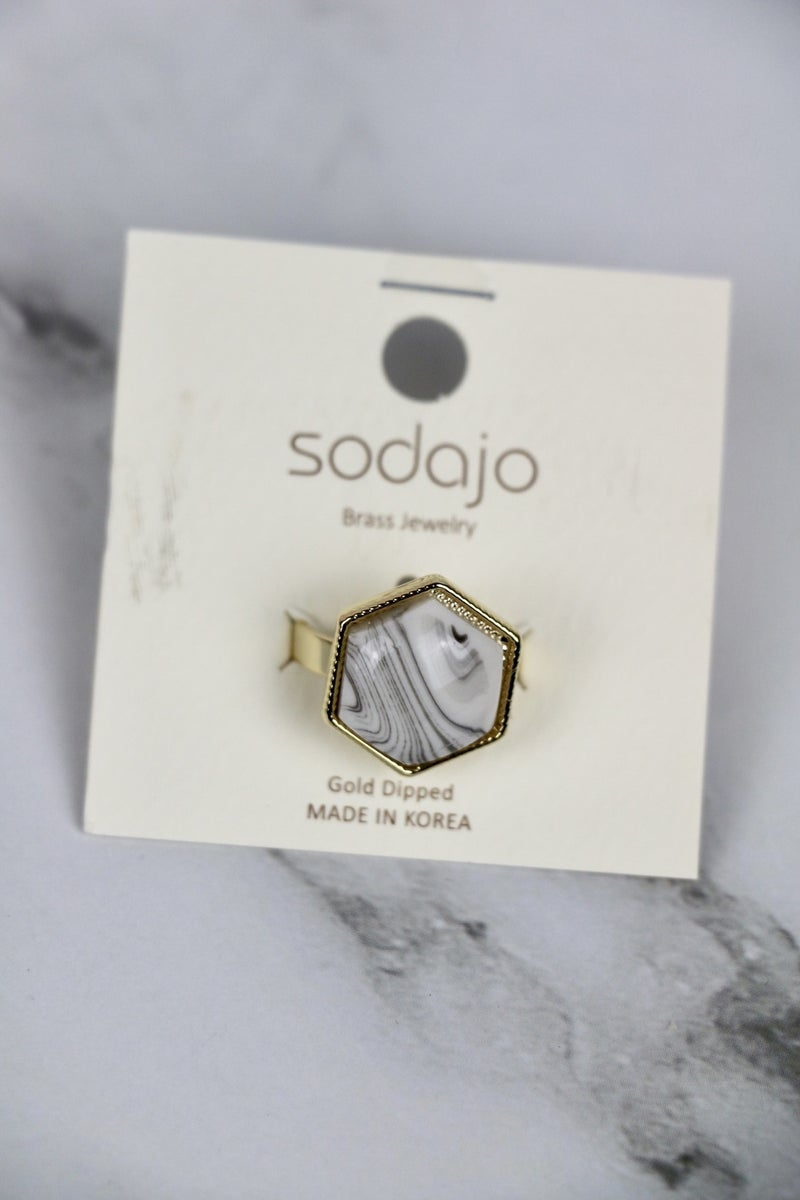Great Look Hexagon Stone Ring In Multiple Colors - Size 7