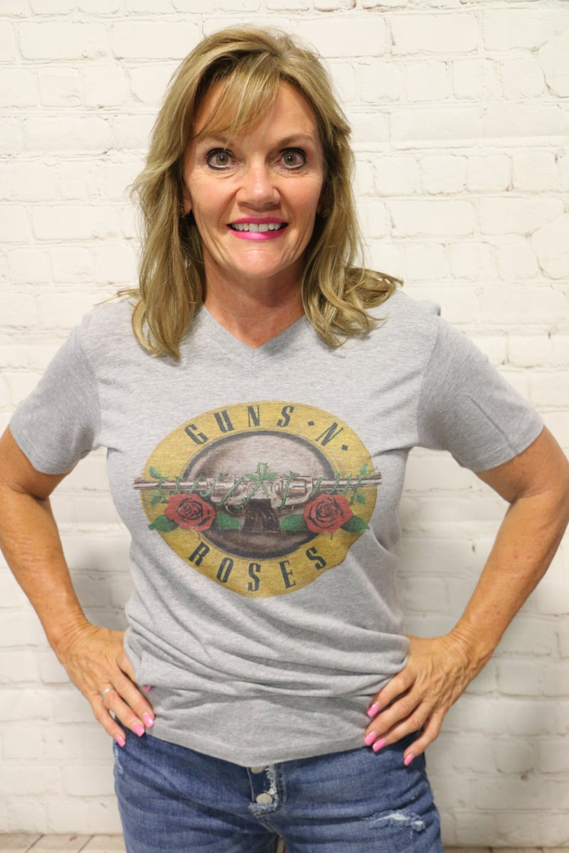 ***PRE-ORDER*** Classic Guns N Roses V-Neck Graphic Tee in Gray ~ Sizes 4-20