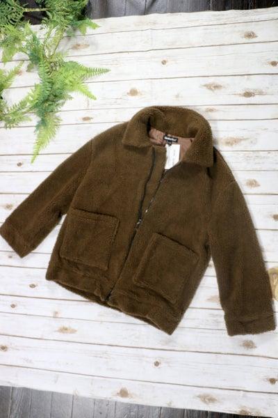 Brown Fleece Zip-up Jacket In S/M