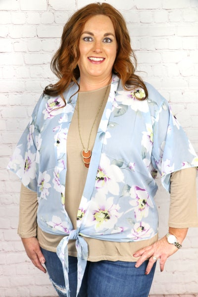 Good as Gold Sheer Floral Kimono with Front Tie in Multiple Colors - One Size