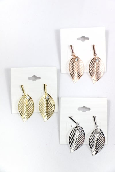Looking For You Metal Leaf Earring With Rhinestone Detail In Multiple Colors