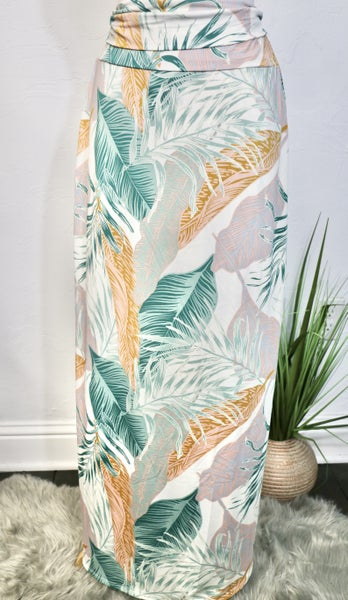 Jungle Queen Fold Over Leaf Maxi Skirt - Sizes 12-20