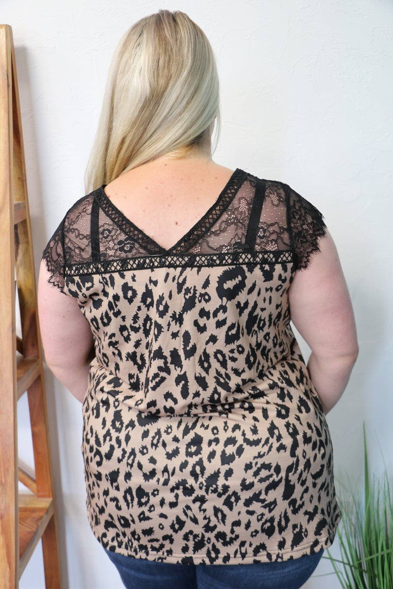 Feel the Love Short Sleeve Printed Top with Eyelash Lace Accent Shoulder in Multiple Prints - Sizes 4-20