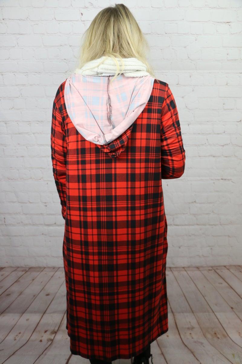 Like A Dream Long Plaid Hooded Cardigan - Sizes 4-12
