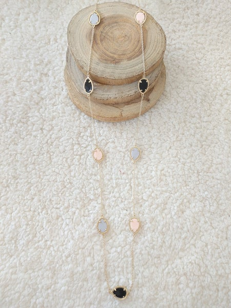 Sweetheart Long Gold Necklace With Pink Blue And Black Stones