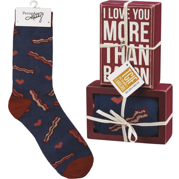 Men's Valentine Gift Set - Box Sign and Matching Socks in Multiple Prints