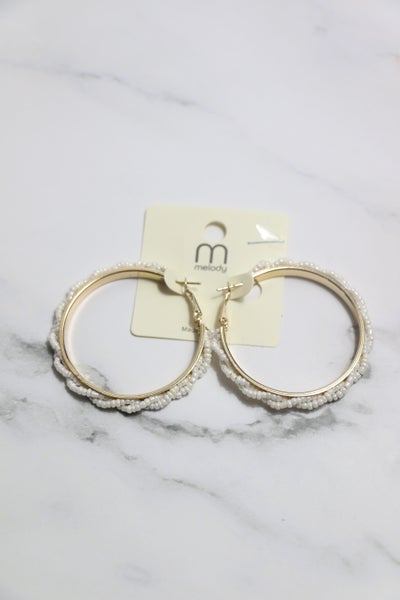 A Night On The Town Gold Hoop Earring With Twist Pearl Border