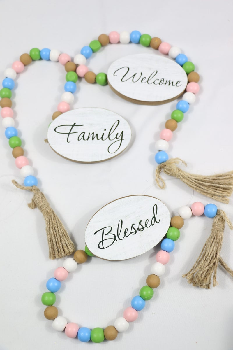 Short Pastel Wooden Bead Strand With Oval Sentiment In Multiple Sayings