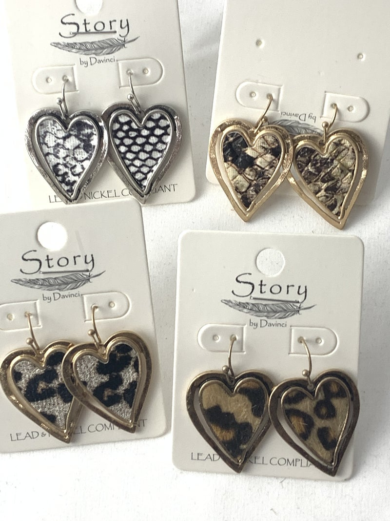 Bless Your Heart Double Heart Earring In Multiple Animal Prints
