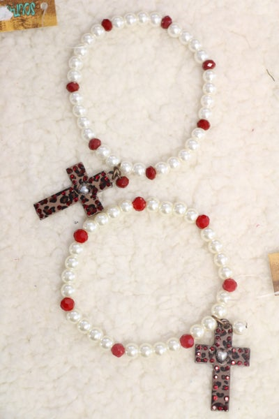 She's So Lovely Pearl Stretch Bracelet With Bling Cross In Multiple Colors