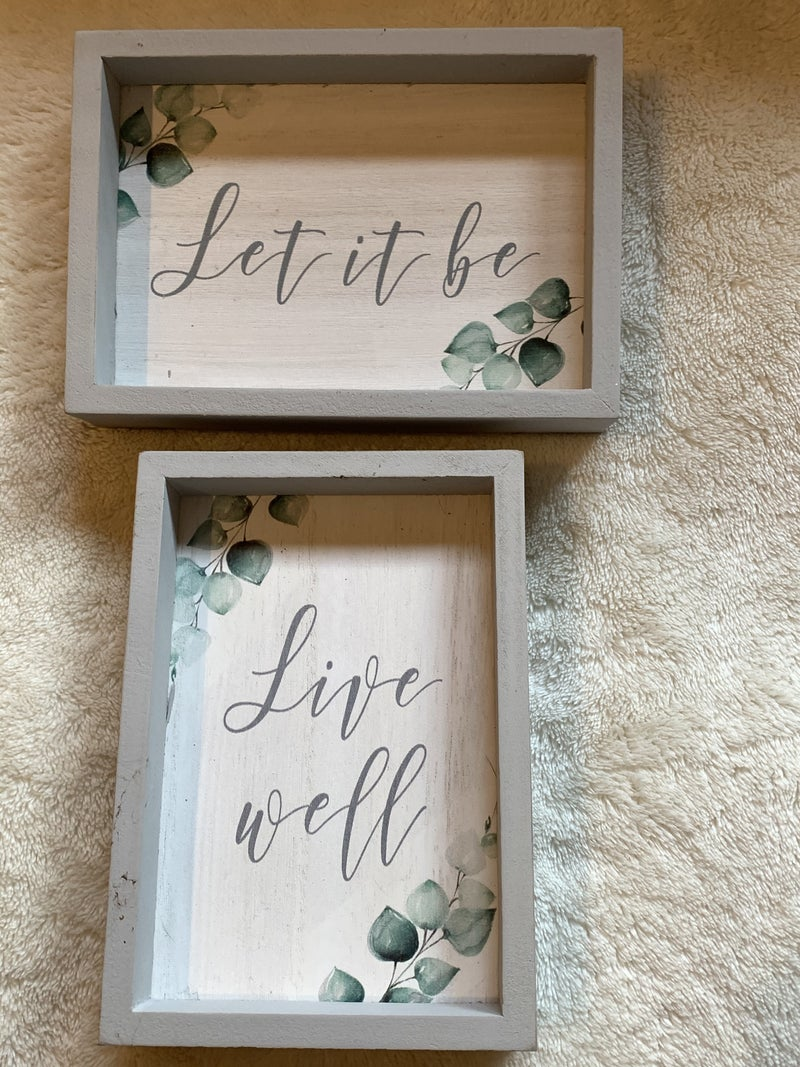 Green And Gray Inspirational Box Sign In Multiple Sayings