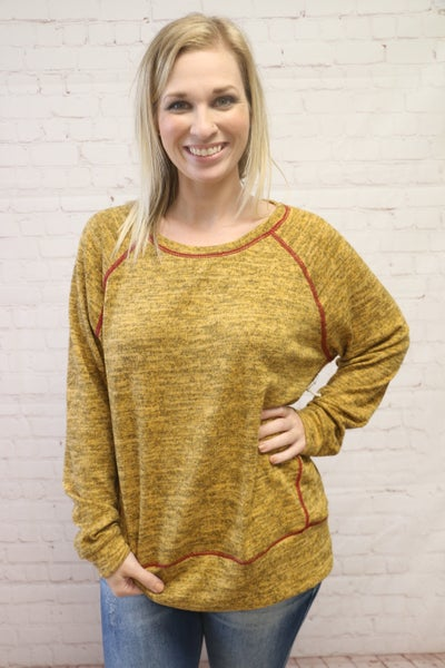 Falling Around Me Heathered Mustard Long Sleeve Top - Sizes 4-12
