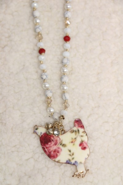 On The Farm Floral Rooster Beaded Necklace