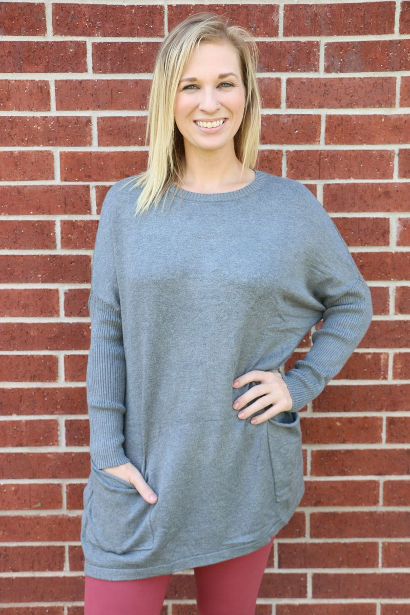 Taking Time Sweater With Front Pockets In Multiple Colors- Sizes 4-20