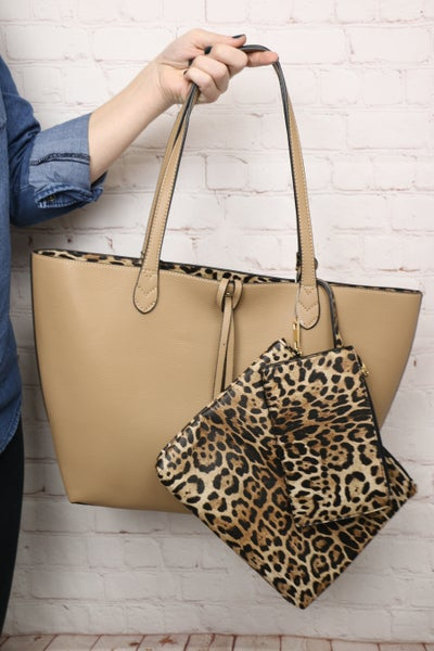 Perfect Together Three Piece Purse Solid Body with Leopard Inside and Accents in Multiple Colors
