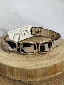 It's A Snap Animal Print Ponyhair Snap Bracelet With 3 Links In Multiple Prints