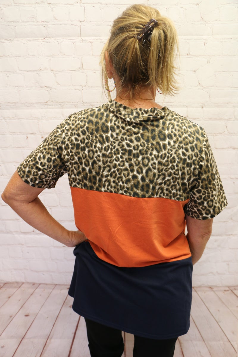 You're Wild Leopard Orange Colorblock Short Sleeve Top with Tie Front - Sizes 4-20
