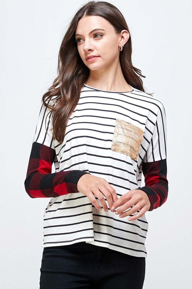 Like a Rockstar Striped Top with Plaid Accent Sleeve and Rose Gold Sequin Pocket - Sizes 4-20