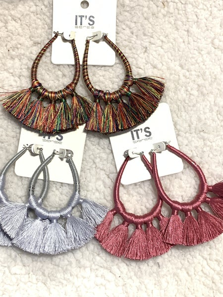 Always Large Hoop With 5 Fringe Tassels In Multiple Colors