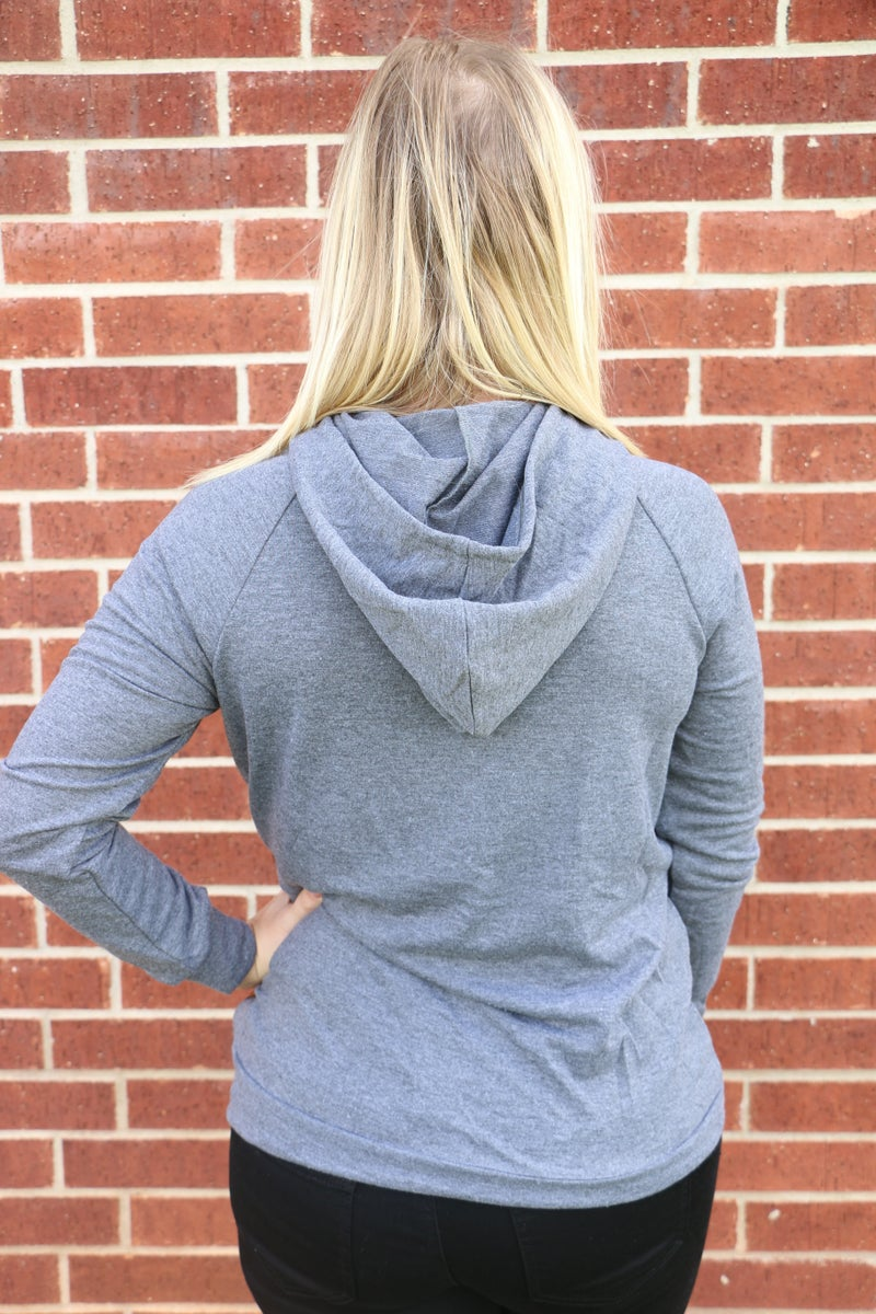 Waiting on Daylight Gray Hoodie with Leopard Sequin Front - Sizes 4-18