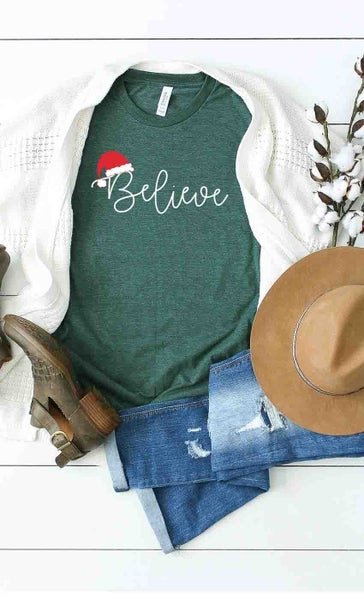 Believe with a Santa Hat Graphic Tee in Teal - Sizes 4-12