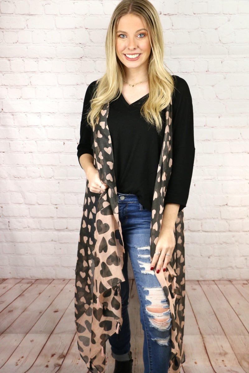 Queen of Hearts Black and Peach Heart Waterfall Vest - One Size