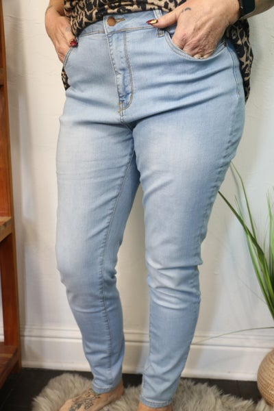 The Sally Light Wash High Rise Skinny Jean - Sizes 12-20